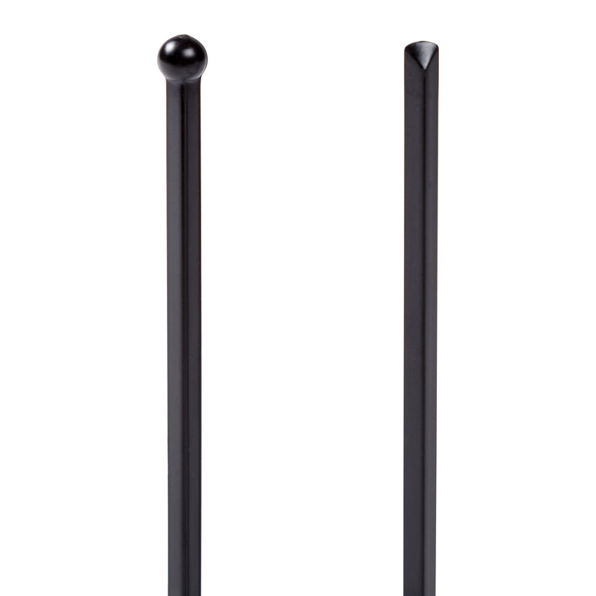 "PLASTIC BALL END STIRRER 6"" BLACK, Detailed View Of Both Ends Of Pick"