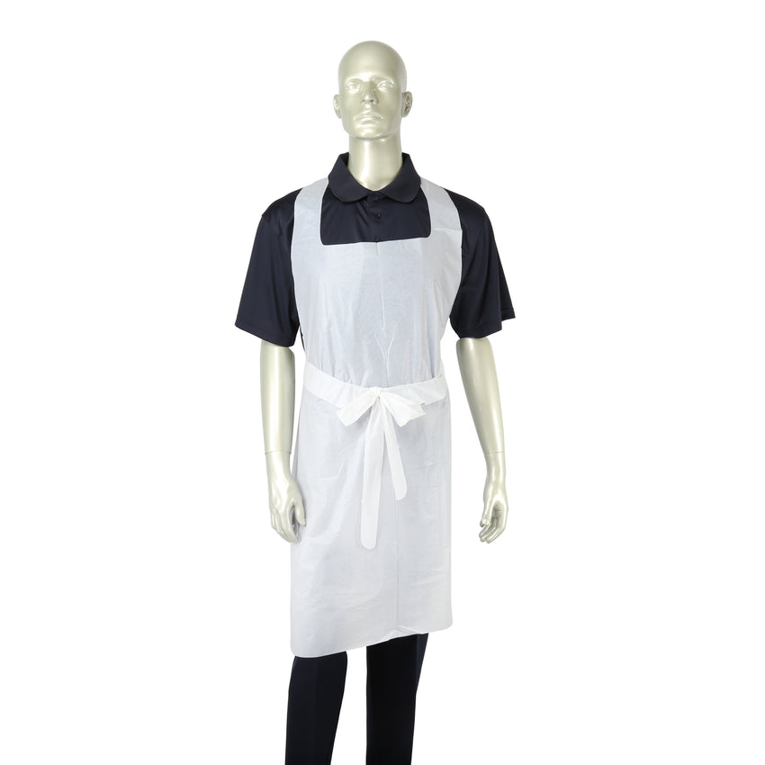 "WHITE 28"" X 46"" 1 MIL POLY APRON BOXED, Apron On Mannequin, Front Tied"