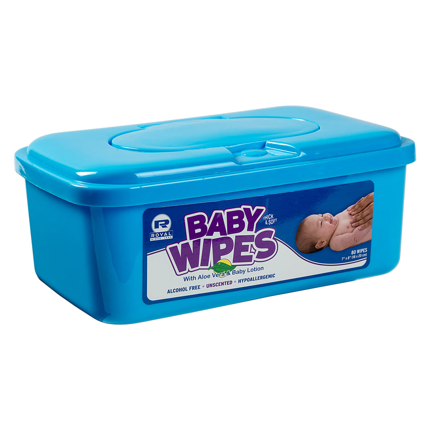 BABY WIPE UNSCENTED, Closed Container Angled View