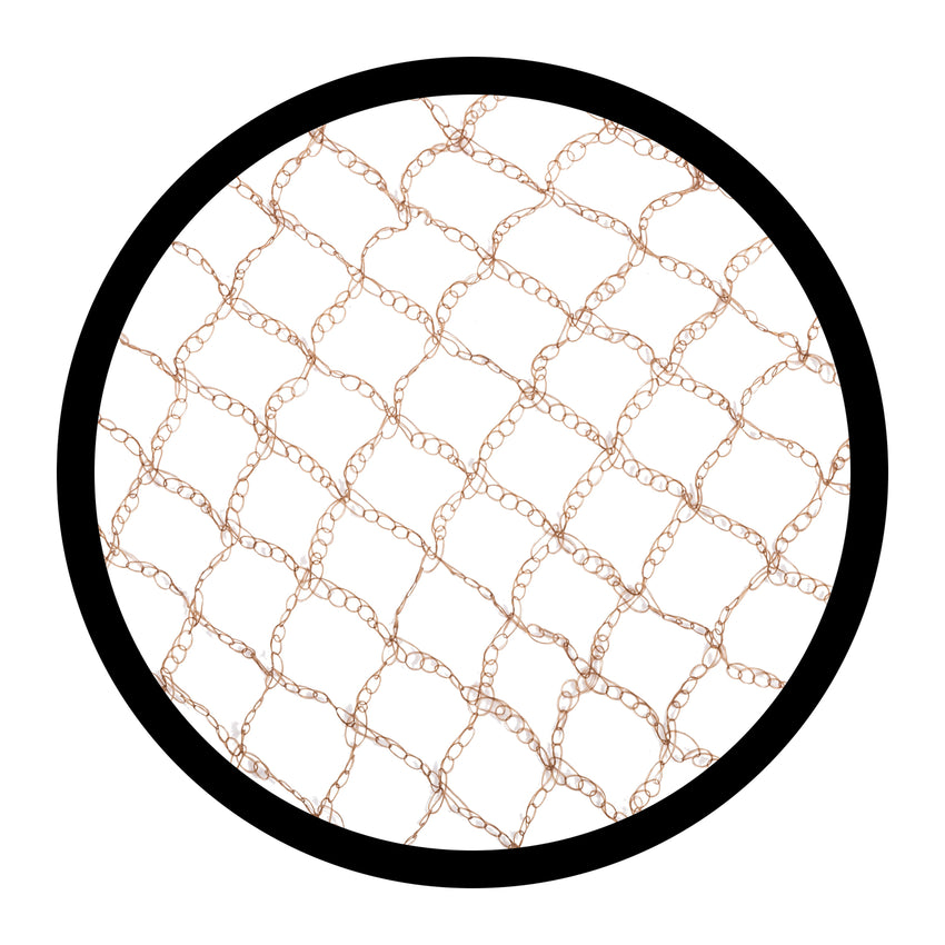 "25"" BROWN HEAVY WEIGHT HAIRNET LATEX FREE, Detailed Mesh View"