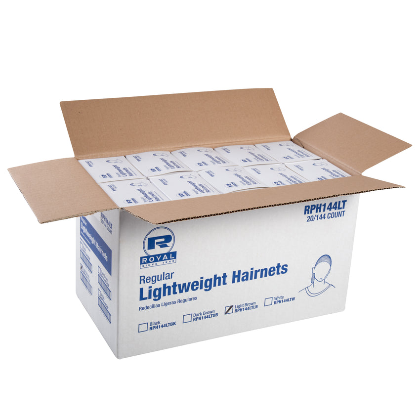 "24"" LIGHT BROWN LIGHT WEIGHT HAIRNET LATEX FREE, Opened Case"