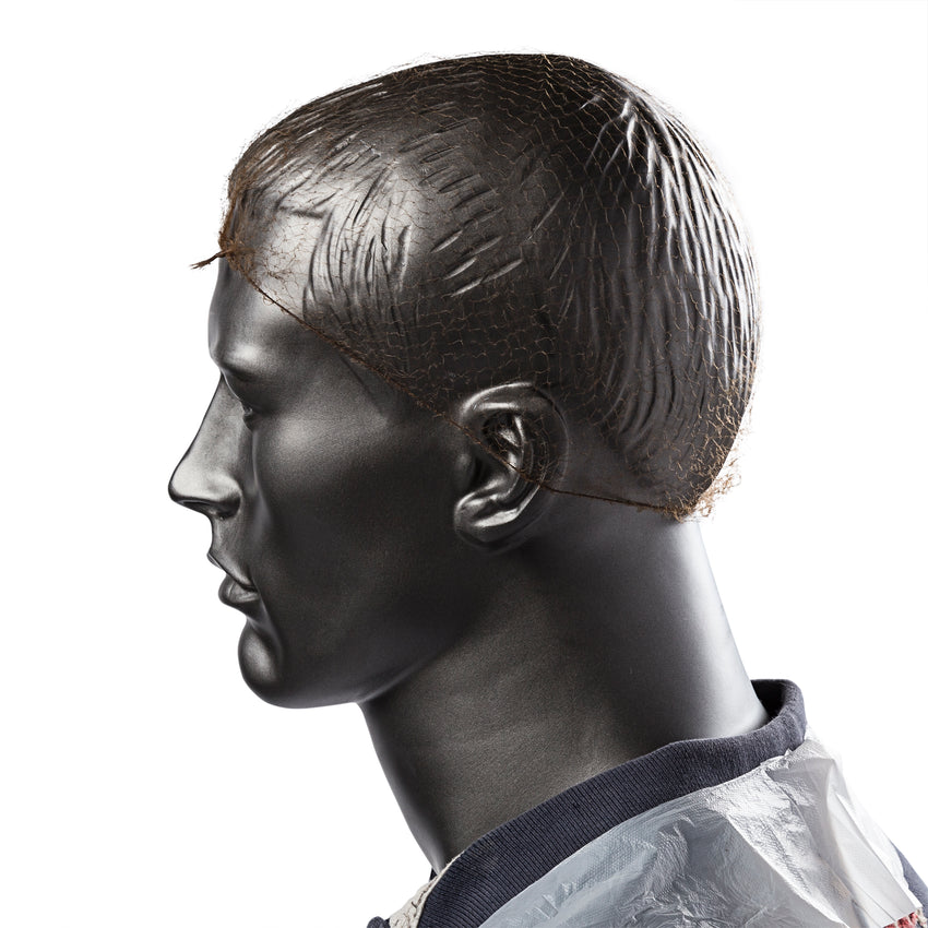 "24"" LIGHT BROWN LIGHT WEIGHT HAIRNET LATEX FREE, On Mannequin Side View"
