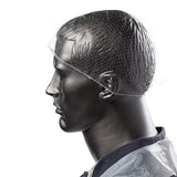"28"" WHITE LIGHT WEIGHT HAIRNET LATEX FREE, On Mannequin Side View"