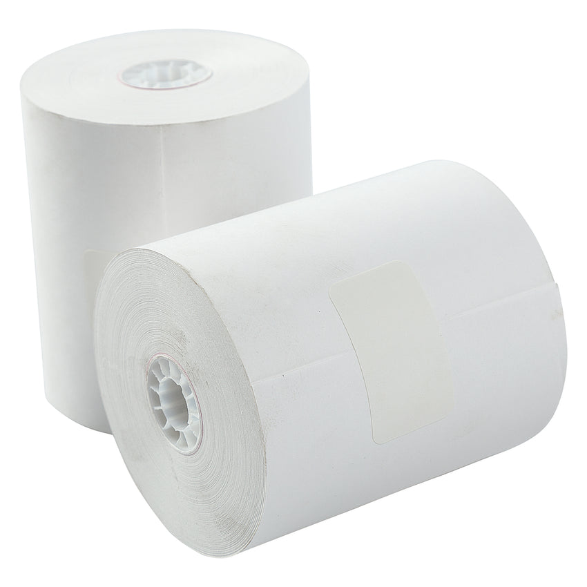 "3-1/4"" X 165' BOND 1 PLY REGISTER ROLL WHITE, Two Rolls Side by Side"