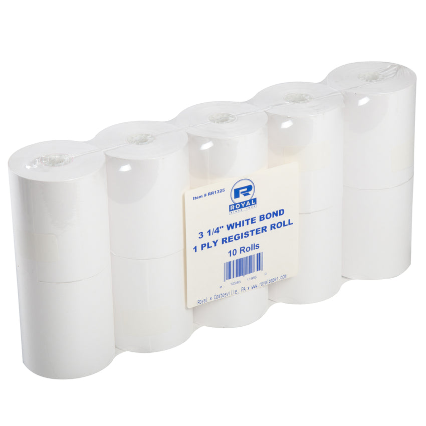 "3-1/4"" X 165' BOND 1 PLY REGISTER ROLL WHITE, Plastic Wrapped Inner Package"