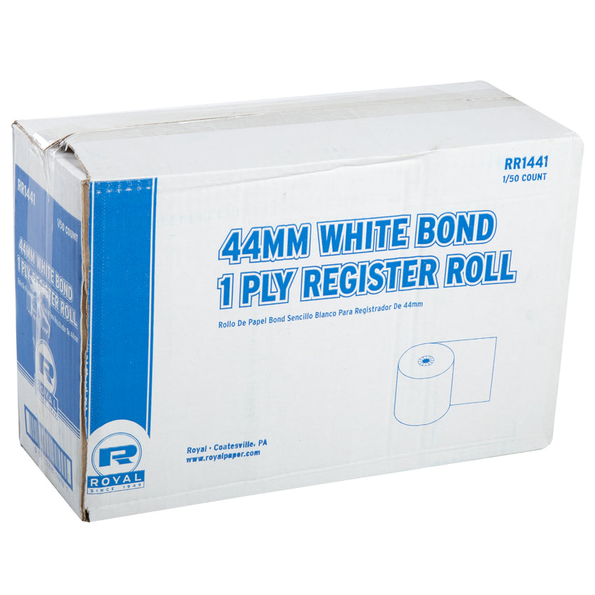 44MM X 130' BOND 1 PLY REGISTER ROLL WHITE, Closed Case