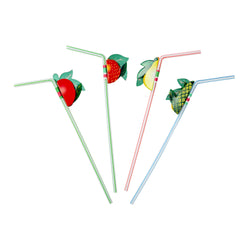 PAPER FRUIT STRAW ASSORTED