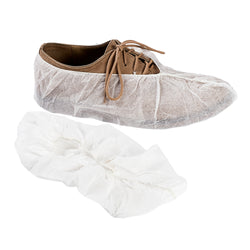 WHITE POLYPRO SHOE COVER NON SKID WITH WHITE TRED LARGE