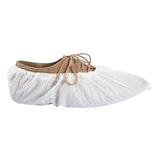 "CROSS LINKED POLYETHYLENE SHOE COVER 18.5"" EXTRA LARGE WHITE, On Shoe Side View"