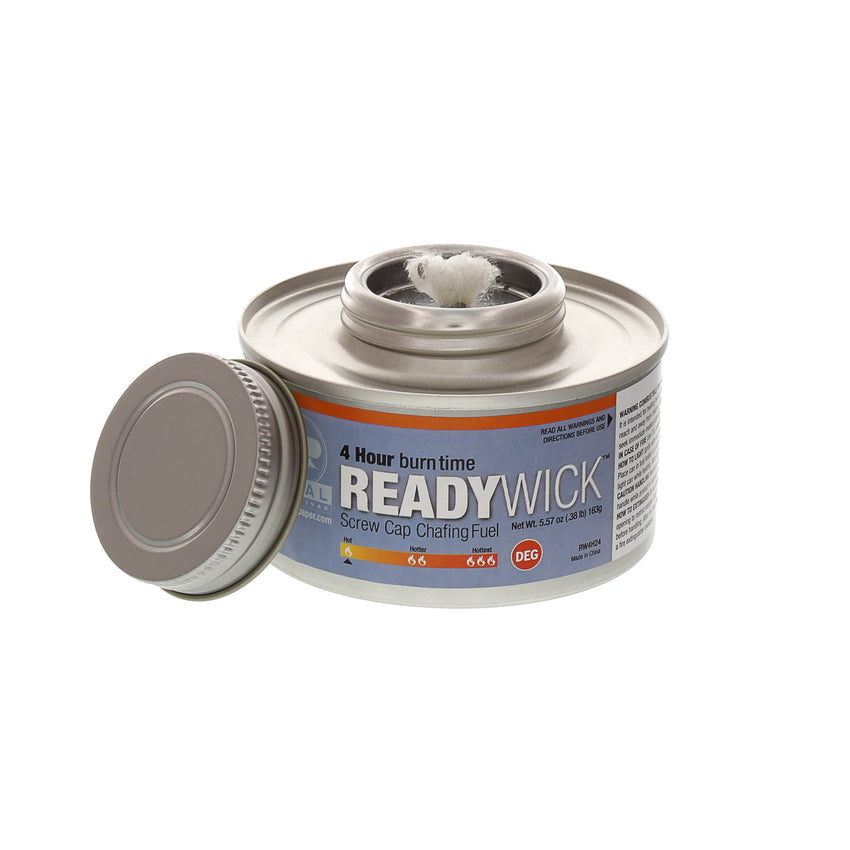 4 HOUR CHAFING FUEL READY WICK SCREW CAP, Cap Off, Wick View