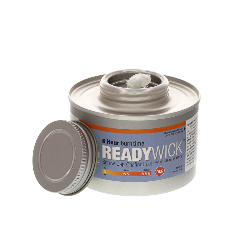 CHAFING FUEL 6 HR READY WICK SCREW CAP, Cap Off View