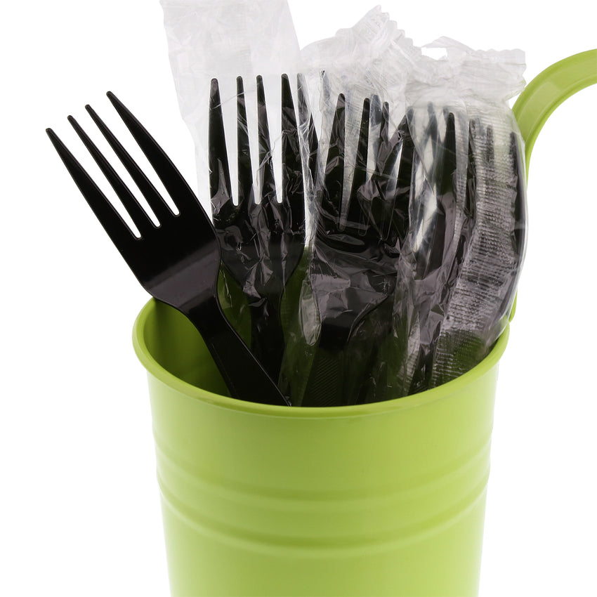 Black Polystyrene Fork, Medium Heavy Weight, Individually Wrapped, Image of Cutlery In A Cup