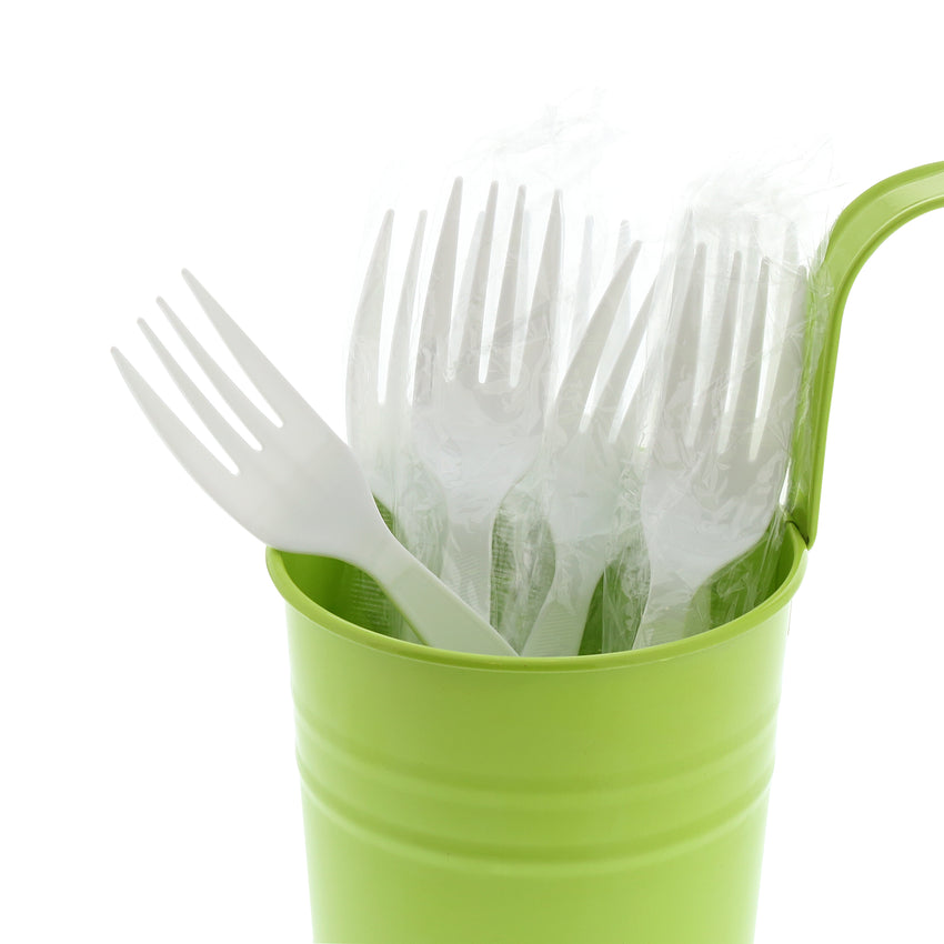 White Polystyrene Fork, Medium Heavy Weight, Individually Wrapped, Image of Cutlery In A Cup