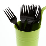 Black Polystyrene Fork, Heavy Weight, Image of Cutlery In A Cup