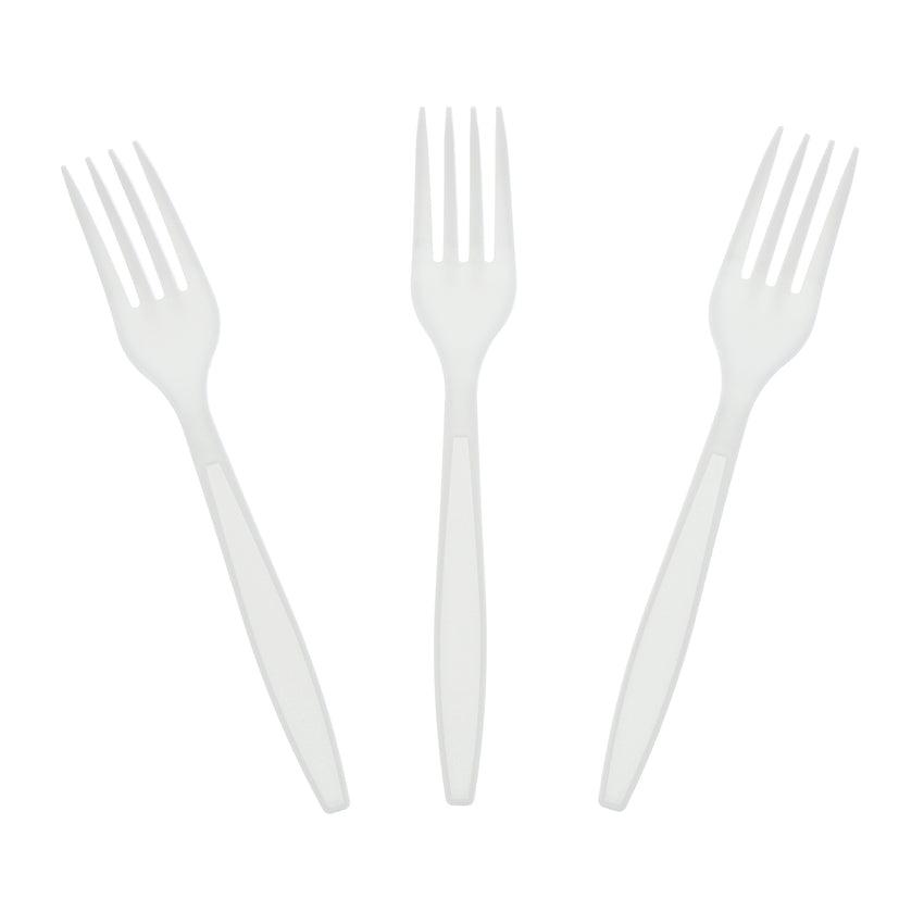 White Polystyrene Fork, Heavy Weight, Three Forks Fanned Out