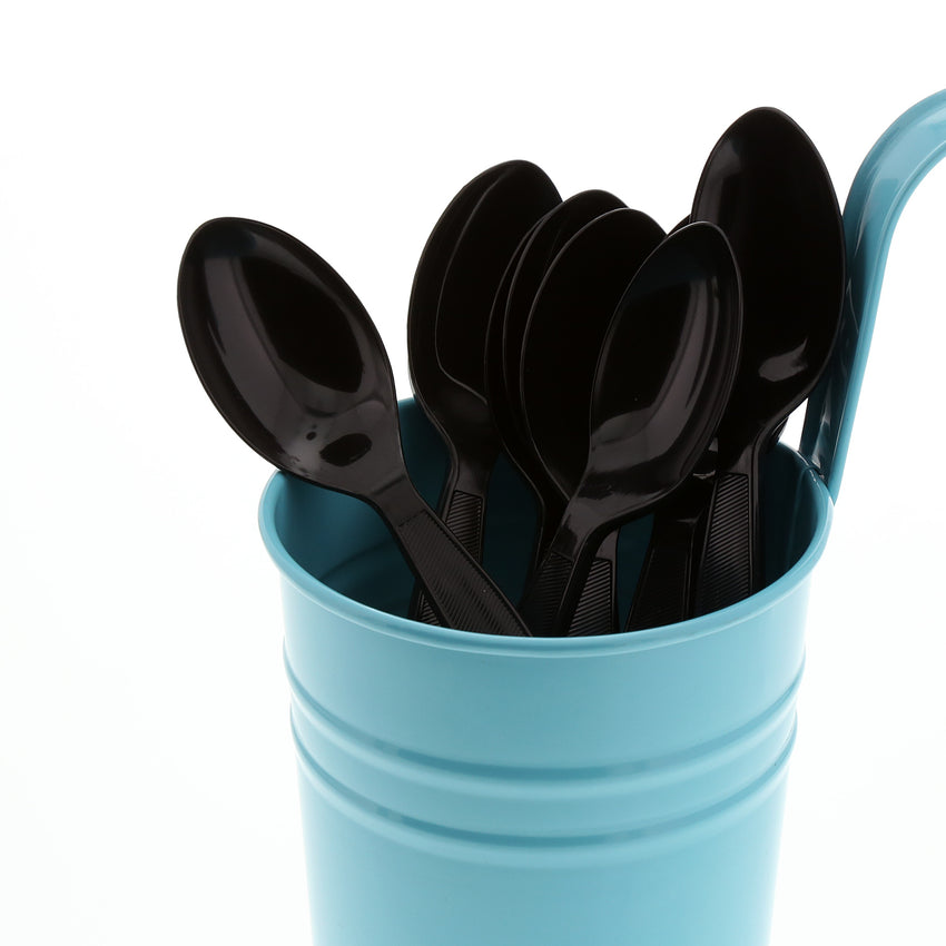 Black Polystyrene Teaspoon, Medium Heavy Weight, Image of Cutlery In A Cup