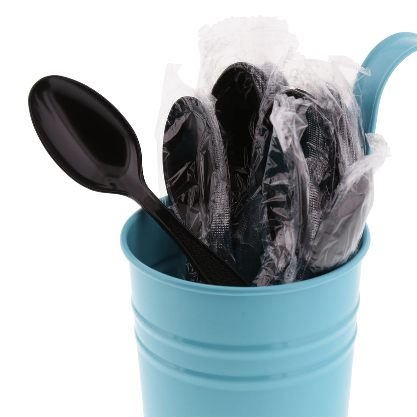 Black Polystyrene Teaspoon, Heavy Weight, Individually Wrapped, Image of Cutlery In A Cup
