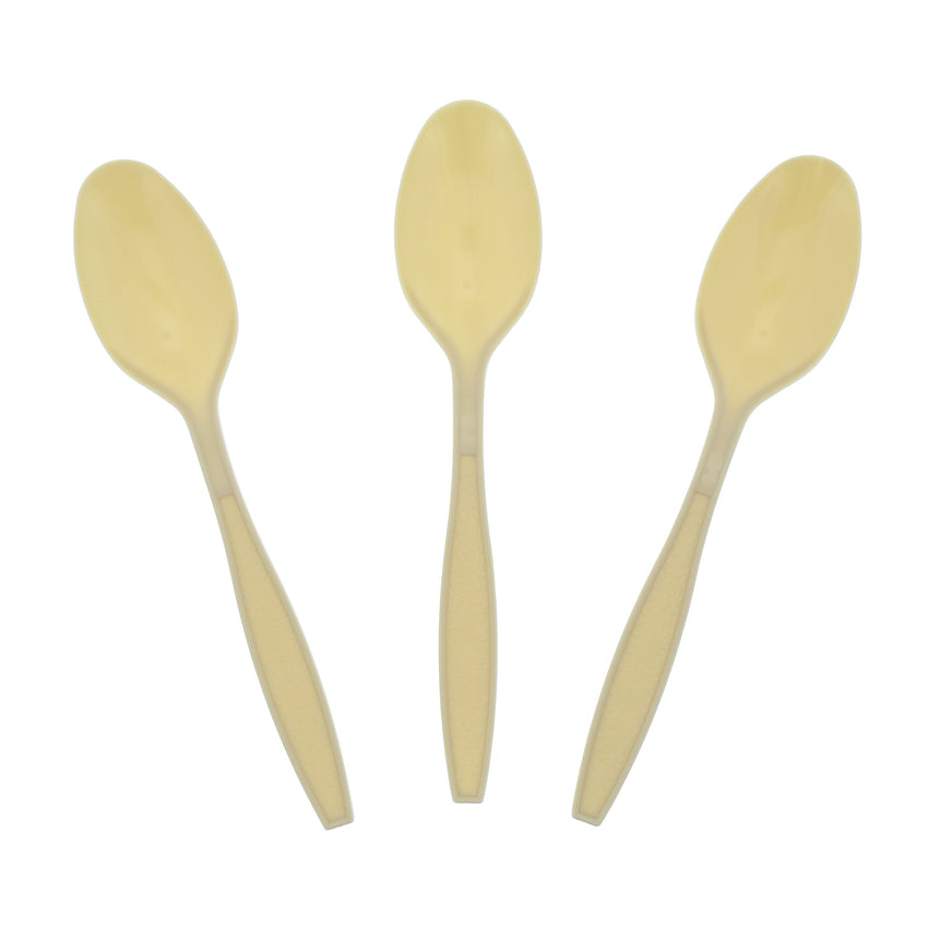 Champagne Polystyrene Teaspoon, Heavy Weight, Three Teaspoons Fanned Out