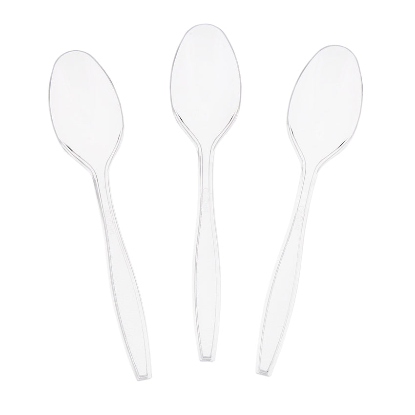 Clear Polystyrene Teaspoon, Heavy Weight, Three Teaspoons Fanned Out
