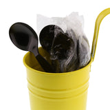 Black Polystyrene Soup Spoon, Medium Heavy Weight, Individually Wrapped, Image of Cutlery In A Cup