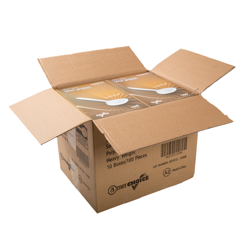 Champagne Polystyrene Soup Spoon, Heavy Weight, Open Case