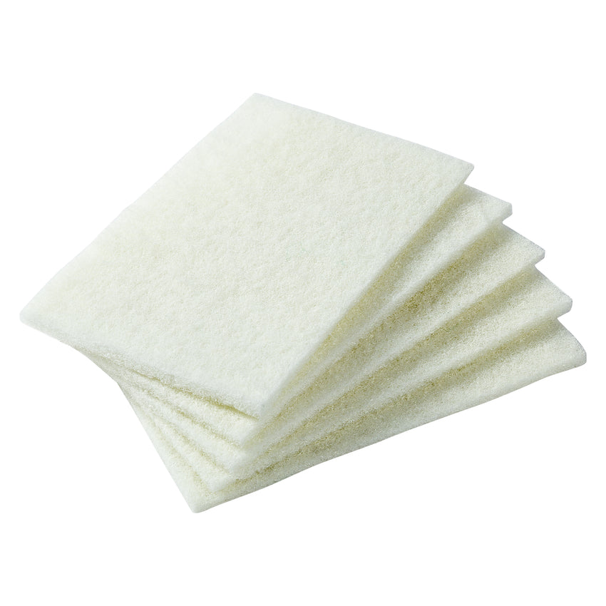 WHITE LIGHT DUTY SCOURING PADS, Five Pads Fanned Out