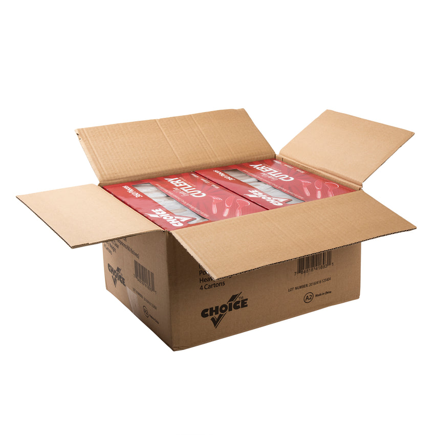 Heavy Weight Clear Polystyrene Cutlery Retail Pack, S601 Series, Open Case