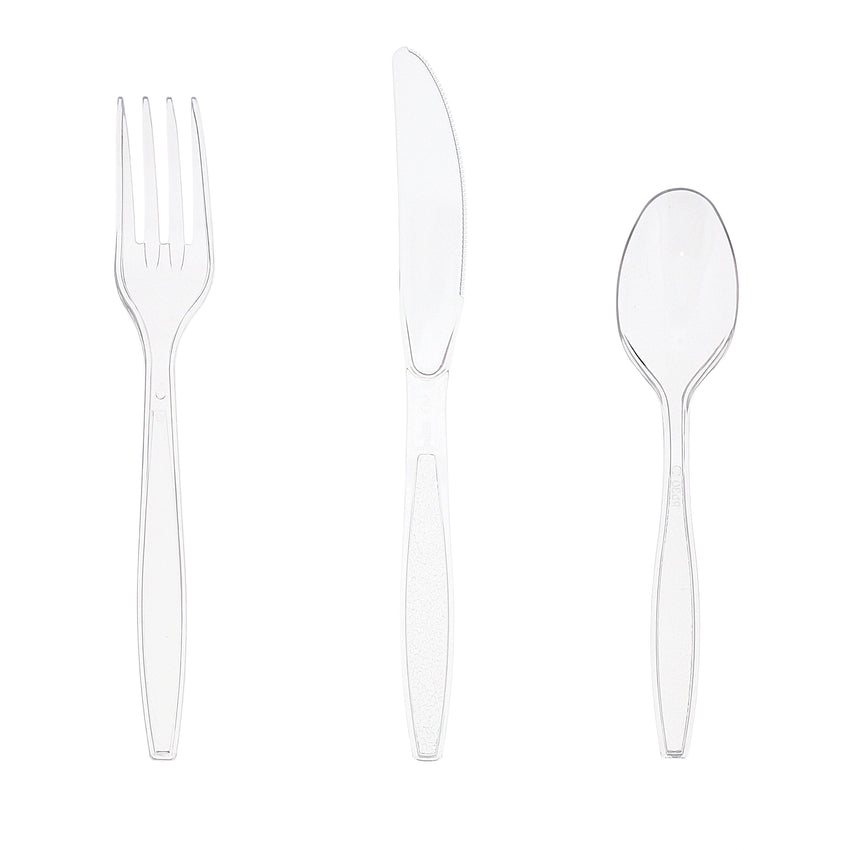 Heavy Weight Clear Polystyrene Cutlery Retail Pack, S601 Series, Fork, Knife and Spoon