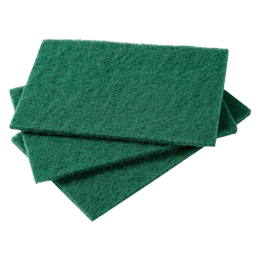 MedIUM DUTY GREEN SCOURING PAD, Three Pads Fanned Out