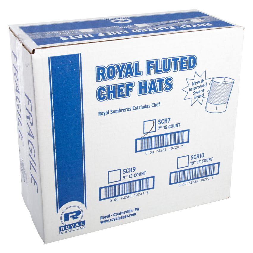 "ROYAL 7"" FLUTED CHEF HAT, Closed Case"