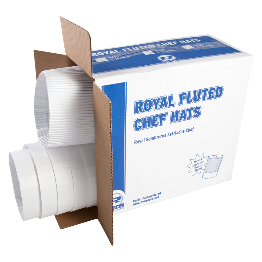 "ROYAL 9"" FLUTED CHEF HAT, Opened Case"