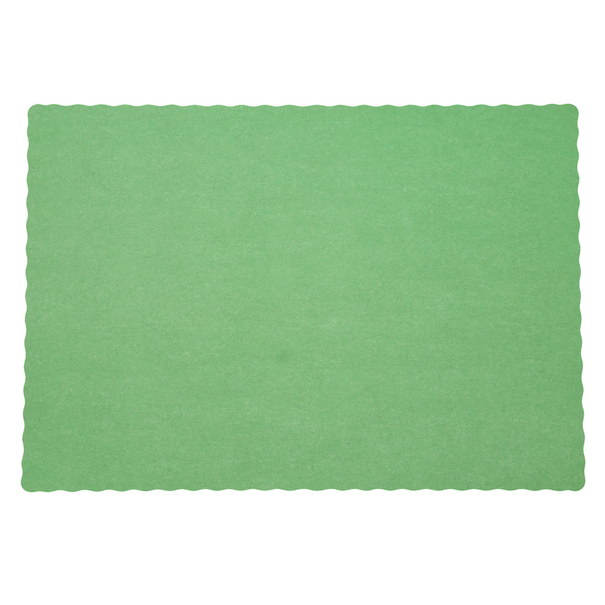 "GREEN PLACEMAT 13.5"" X 9.5"" SCALLOPED"