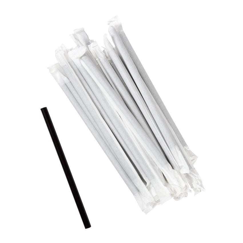 "5.75"" Giant Black Straw, Paper Wrapped, Group Image"