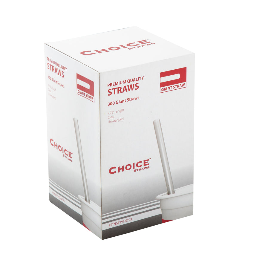 "7.75"" Giant Clear Straw, Unwrapped, Inner Package"