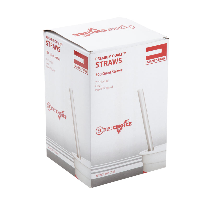 "7.75"" Giant Clear Straw, Paper Wrapped, Inner Package"