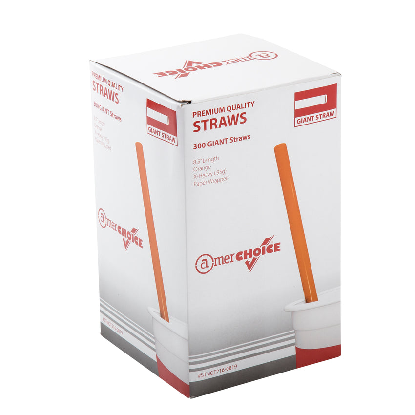 "8.5"" Giant Orange Straws, Paper Wrapped, Inner Package"
