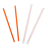 "8.5"" Giant Orange Straws, Paper Wrapped, Group Image, Fanned Out Straws"