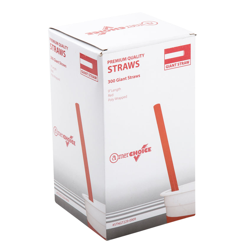 "9"" Giant Red Straws, Poly Wrapped, Inner Package"