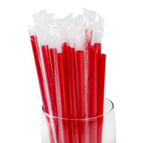 "9"" Giant Red Straws, Poly Wrapped, Straws In A Glass, Zoomed In"
