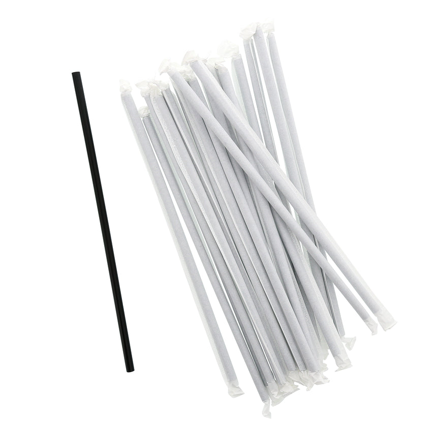 "10.25"" Giant Straw, Black, Paper Wrapped, Group Image"