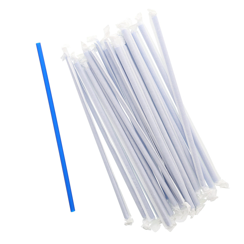"10.25"" Giant Straw, Blue, Paper Wrapped, Group Image"