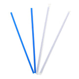 "12"" Giant Blue Straw, Paper Wrapped, Group Image, Fanned Out Straws"