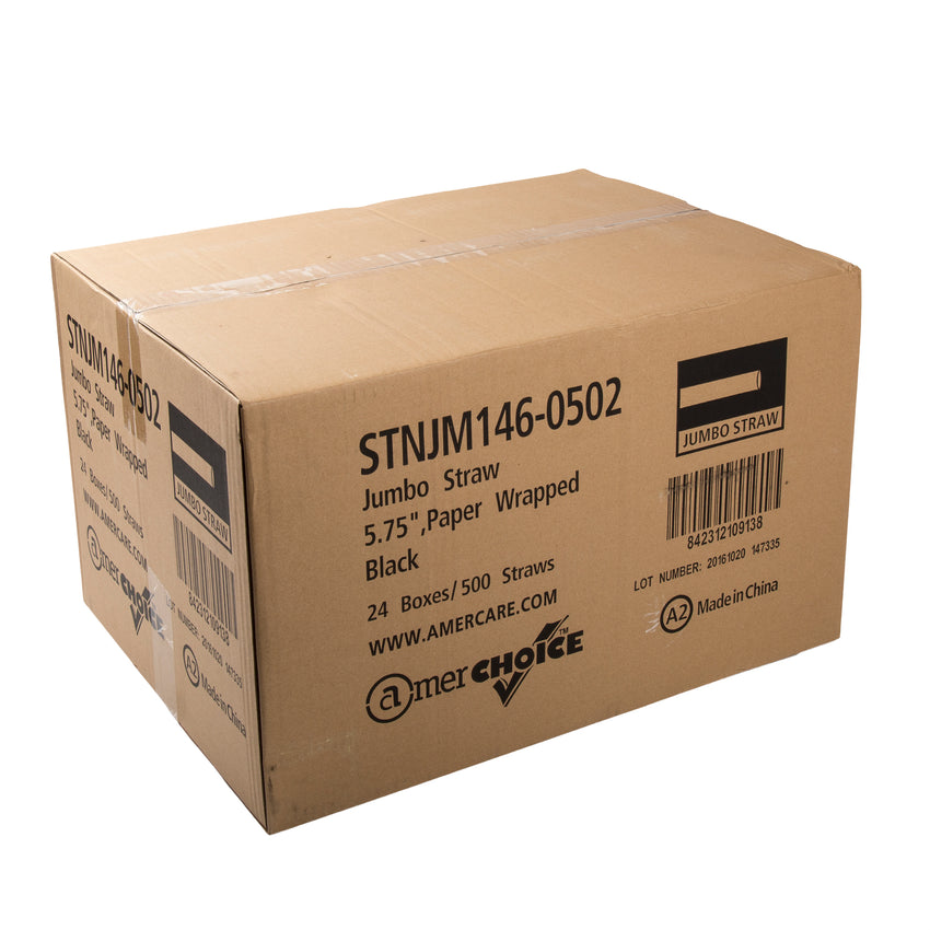 "5.75"" Jumbo Black Straw, Paper Wrapped, Closed Case"