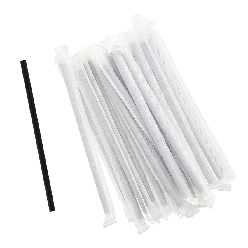 "5.75"" Jumbo Black Straw, Paper Wrapped, Group Image"