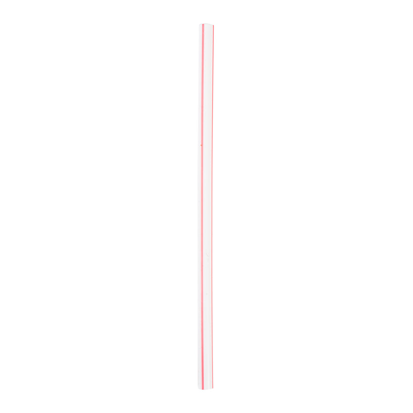 "5.75"" Jumbo White With Red Stripe Straw, Paper Wrapped, View Of Unwrapped Straw"