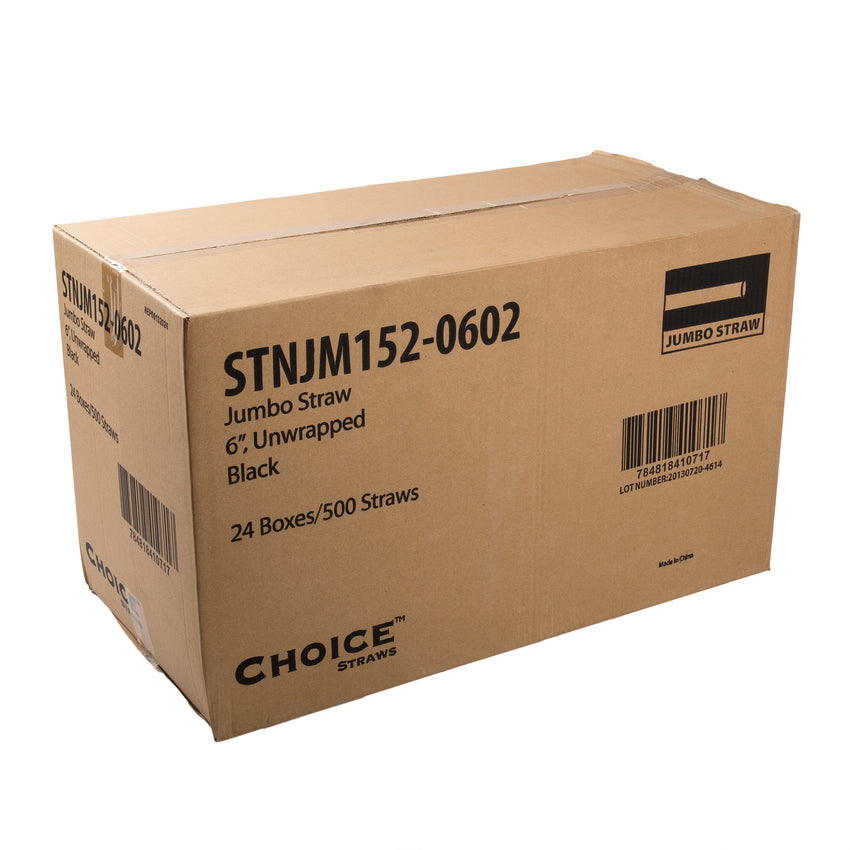 "6"" Jumbo Black Straw, Unwrapped, Closed Case"
