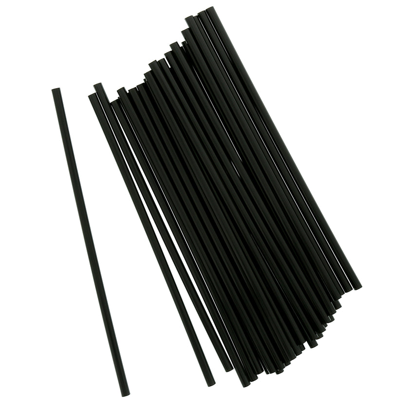 "7.75"" Jumbo Black Straw, Unwrapped, Group Image"