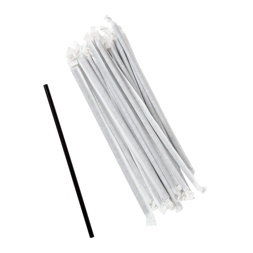 "7.75"" Jumbo Black Straw, Paper Wrapped, Group Image"