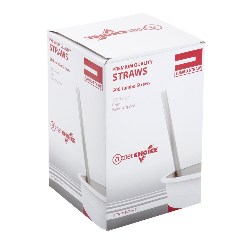 "7.75"" Jumbo Clear Straw, Paper Wrapped, Inner Package"