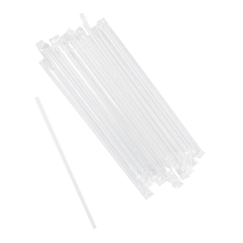 "7.75"" Jumbo Clear Straw, Poly Wrapped, Group Image"